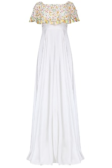 White Off-Shoulder Cape Gown