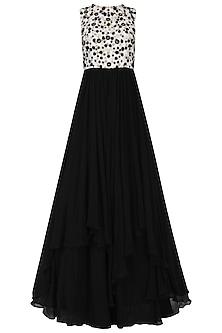 Black and White Layered Gown by Neha Chopra