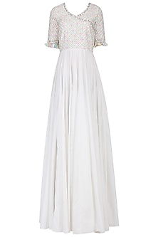 White Angrakha Maxi Dress by Neha Chopra