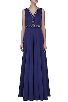 Royal Blue Embroidered Jumpsuit by Neha Chopra