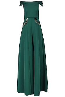 Emerald Green Off-Shoulder Jumpsuit