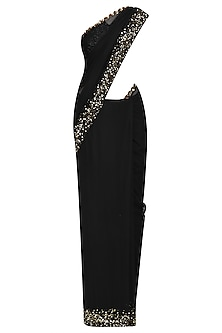 Black Sequins and Pearl Embroidered Saree and Blouse Set