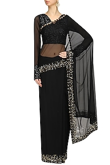 Black Sequins and Pearl Embroidered Saree and Blouse Set by Neha Chopra