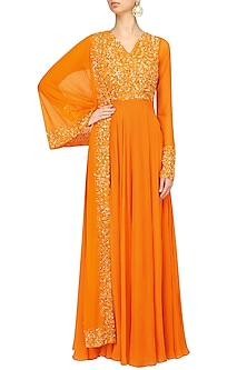 Orange Sequins Embroidered Anarkali Set by Neha Chopra