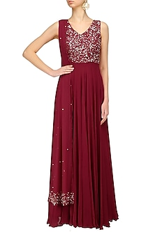 Red Sequins Embroidered Anarkali Set by Neha Chopra