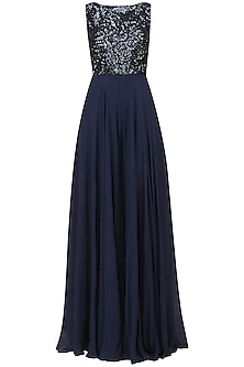 Dark Blue Sequins Embroidered Jumpsuit with Backless Drape