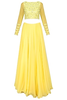 Lemon Yellow Sequins Embroidered Lehenga Set