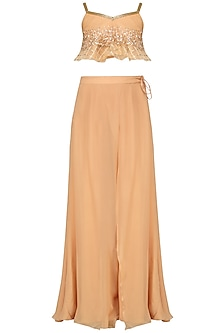 Pale Peach Embroidered Peplum Top and Palazzo Pants Set