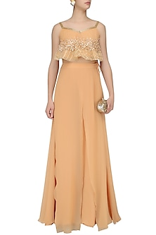 Pale Peach Embroidered Peplum Top and Palazzo Pants Set by Neha Chopra