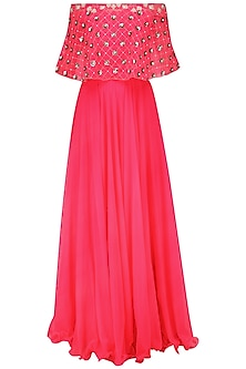 Neon Pink Off Shoulder Embroided Cape and Skirt Set