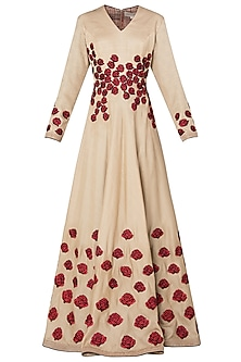 Beige Rose Patchwork Embroidered Anarkali Set by Neeta Lulla