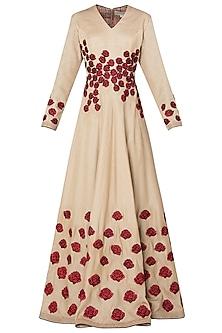 Beige Rose Patchwork Embroidered Anarkali Set
