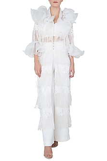 White Ruffled Jacket with Bralette and Flared Pants by Neeta Lulla