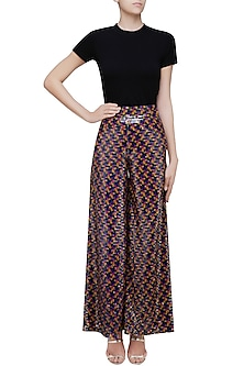 Black Sequins Embellished Wide Flared Pants by Neha Taneja