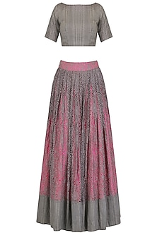 Pink and Grey Shaded Embroidered Lehenga and Blouse Set