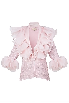 Pink Front Open Ruffled Jacket