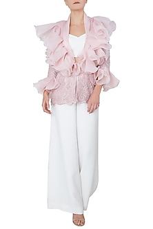 Pink Front Open Ruffled Jacket by Neeta Lulla