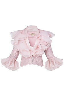 Pink Ruffled Embroidered Jacket by Neeta Lulla