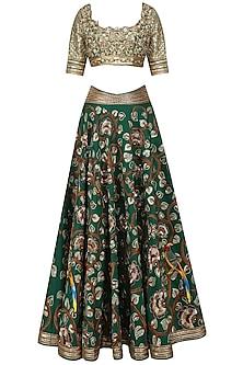 Green Floral Embroidered Lehenga Set