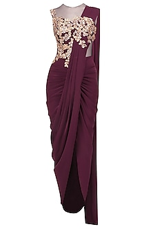 Wine Embroidered Pleated Drape Saree Gown