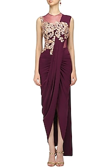Wine Embroidered Pleated Drape Saree Gown by Neeta Lulla