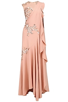 Peach and Copper Embroidered Pleated Drape Saree Gown