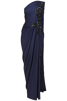Midnight Blue Embroidered One Shoulder Drape Gown by Neeta Lulla