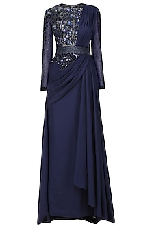 Blue Sequins and Bead Work Drape Gown