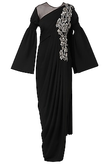 Black Embroidered Long Slit Drape Gown