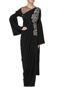 Black Embroidered Long Slit Drape Gown by Neeta Lulla