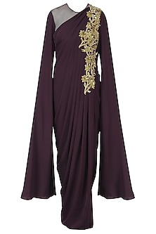 Wine Embroidered Cape Sleeves Drape Gown