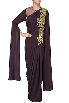 Wine Embroidered Cape Sleeves Drape Gown by Neeta Lulla