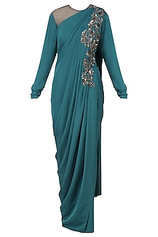 Blue Embroidered Long Slit Drape Gown