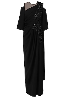 Black Embroidred Cold Shoulder Drape Gown by Neeta Lulla