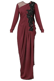 Marsala Cutdana Embroidered Drape Gown