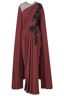 Marsala Embroidred Cape Sleeves Drape Gown