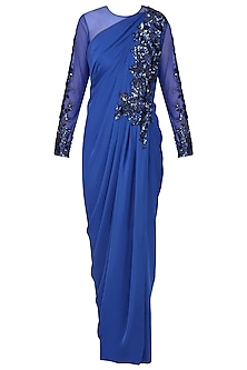 Royal Blue Embroidered Full Sleeves Drape Gown