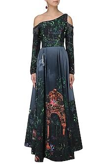 Navy Blue Digital Printed Gown by Neeta Lulla