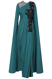 Blue Cutdana Work Cape Sleeves Drape Gown