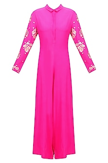 Hot Pink Floral Embroidered Jumpsuit by Neeta Lulla