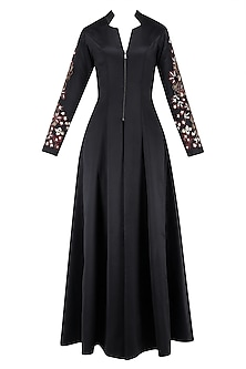 Black Floral Embroidered Jacket Style Kurta and Pants Set by Neeta Lulla