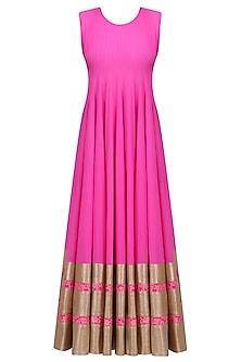 Hot Pink Kalidaar Kurta and Floral Work Cape Jacket Set by Neeta Lulla