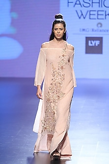 Pink Floral Embroidered Tunic and Flared Pants with Bralet by Neeta Lulla