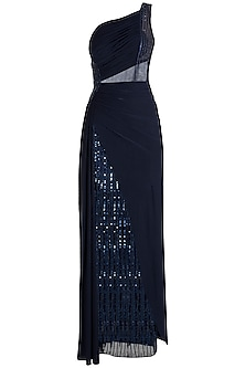 Midnight Blue Embroidered Gown by Neeta Lulla