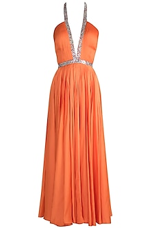 Orange Embroidered Halter Neck gown by Neeta Lulla