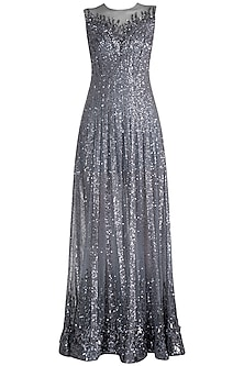 Grey Sequins Embroidered Sheer Gown by Neeta Lulla
