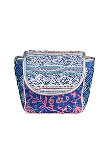 Blue Handblock Printed Embroidered Sequins Bag by Neonia
