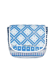 Mint Blue Handblock Printed & Embroidered Crossbody Sling Bag by Neonia