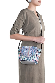 Blue & White Handblock Printed Embroidered Sequins Sling Bag by Neonia