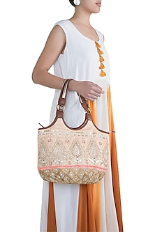 Peach Handblock Printed & Embroidered Hobo Bag by Neonia